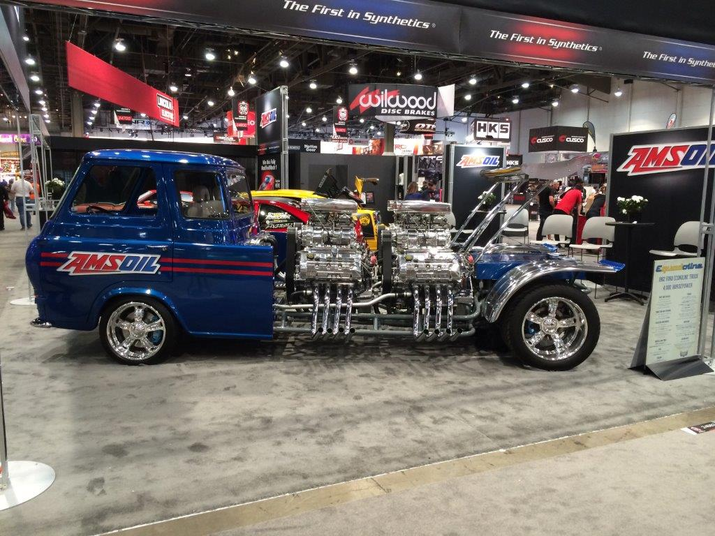 Ford econoline van with 4 four blown ford racing engines on display at sema 2015
